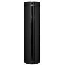 Twin Wall Flue 6 inch 200mm Straight length BLACK Finish