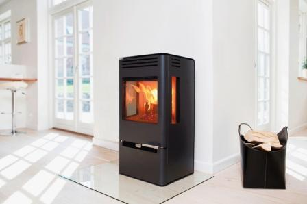 contemporary modern wood burning stove