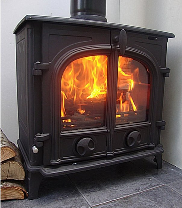 double door log burner wood burning stove