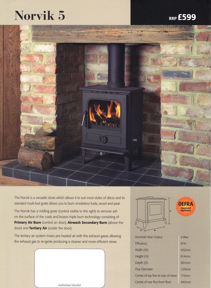 Norvik 5kw Defra Approved Log Burner
